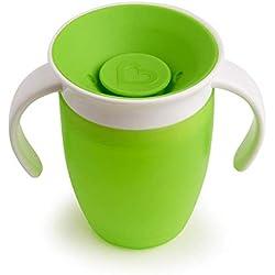 Taza de Aprendizaje de Bebe, Copa para Niños a Prueba de Fugas de 360 Grados, Biberones Para Bebés de 240 ML, Taza Para Bebidas de Entrenamiento En 360 Grados BPA Sin Fugas a Prueba de Fugas (Verde)