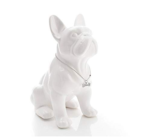 Estatua de Bulldog Francés de porcelana de 32cm Blanca
