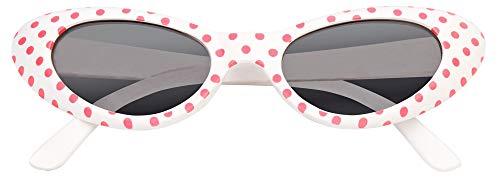 Das Kostümland Anteojos de Ojo de Gato Arenosos con Puntos: Excelentes anteojos al Estilo de los años 50 y 60 (Blanco Rosa)