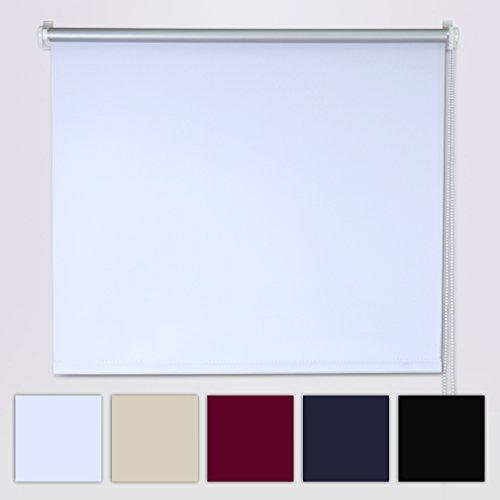 SHINY HOME® Moderne Verdunkelungrollo Jalousie Rollos (BxL, 80x175cm) Vorhang Silberbeschichtung Sonnenschutzrollo Verdunklung mit Klemmträger ohne Bohren(Weiß)