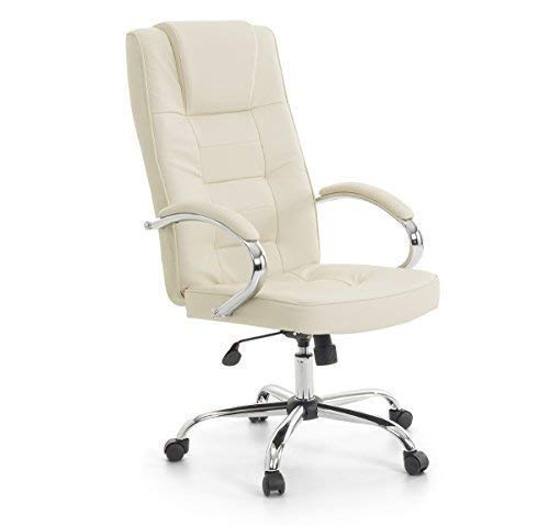 "Leder Chefsessel Massagesessel\""San Diego\"" Sessel mit Massage Farbe beige/cremefarben/elfenbein + Chrom für Büro Ledersessel Bürostuhl Drehstuhl günstig"
