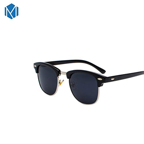 MISM Polarisierte halbrandlose Clubmaster-Sonnenbrille Klassische Halbrand-Design-Brille mit Metallnieten für Männer und Frauen Black