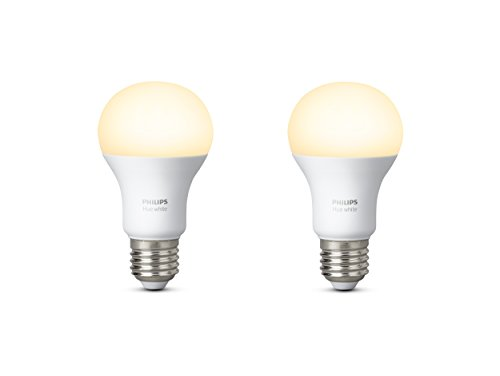 Philips Hue White Personal Wireless Lighting LED 2 x 9.5 W E27 Edison Screw Twin Pack Light Bulbs, Apple Homekit Enabled, Works with Alexa