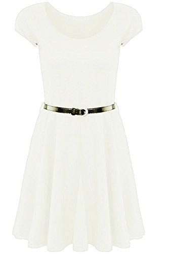 Generic - Robe - Patineuse - Manches Courtes - Femme Multicolore Bigarré Taille Unique Blanc