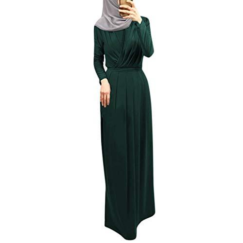 Floweworld Mode Damen Kleider Muslimische Frauen Hauchhülse Gestreiftes Langes Kleid Indischen Plissee Hals Indischen Kleid Burqa Jilab Abaya Ramadan Kaftan