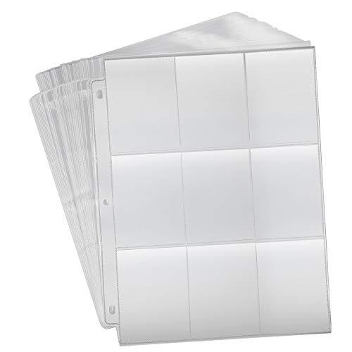 KUUQA 30 Feuilles Transparentes Poches de Cartes à Manches Protecteur Manettes Non-Slip Cartes de Jeu Cartable pour Collecte de Cartes, 3-Banderoles avec 9 Poches (270 Poches)