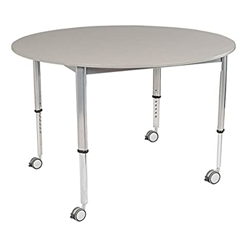 School Outfitters LNT-INM1048RGS-SO Learniture Adjustable-Height Round Planning Table, Gray Spectrum, 48