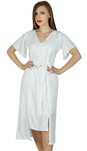 Bimba Frauen asymmetrische Etuikleid zur Mitte der Wade Sommer Rayon Tag Kleider Weiß