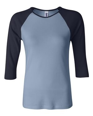 Ladies' Baby Rib 3/4-Sleeve Contrast Raglan T-Shirt BABY BLUE/ NAVY M (Baby Blue Womens T-shirt)