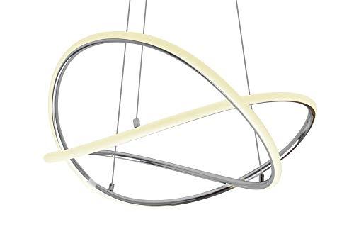 LED Universum Elegante Pendelleuchte Signa: aus verchromtem Aluminium mit opaler Kunststoffabdeckung für homogenes warmweißes Licht, 19 Watt, höhenverstellbar