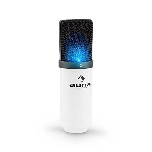 auna MIC-900-WH-LED USB Kondensator Mikrofon für Studio-Aufnahmen Podcast Audiostreaming LED-Beleuchtung (Nierencharakteristik, Sprach...