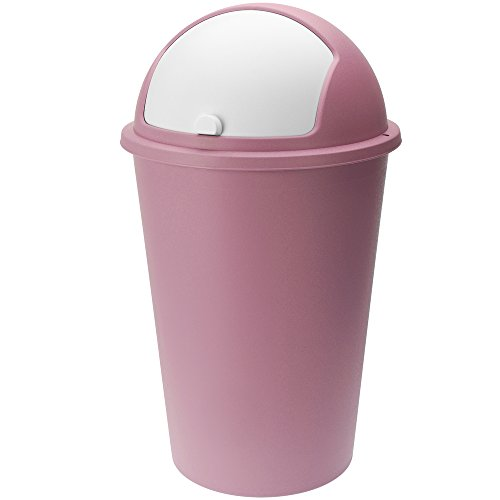 Deuba Abfalleimer 50L mit Schiebedeckel 68cm x 40cm rosa - Mülleimer Müllbehälter Abfallbehälter I Büro Küche Bad