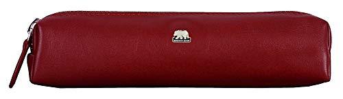 Brown Bear - Schreibgeräte-Etui Leder Rot mit Reißverschluss Echt-Leder Business Stifte-Etui hochwertig Federetui Federmäppchen Federtasche Schlamppermäppchen 1403 crd