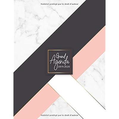 Grand Agenda 2019-2020: Agenda de Juillet 2019 à Juillet 2020, Semainier grand format 21x28cm, simple & graphique, idéal prise de rendez-vous, motif marbre blanc, rose, noir & or