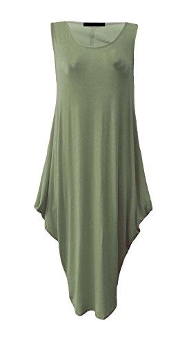 Maillot sans manches pour dames Tunique italienne Lagenlook Tulip Parachute Dress EUR Taille 36-54 Kaki