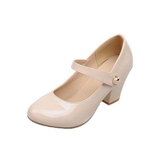 AgooLar Damen Lackleder Rund Zehe Mittler Absatz Haken-und-Loop Pumps Schuhe, Cremefarben, 39