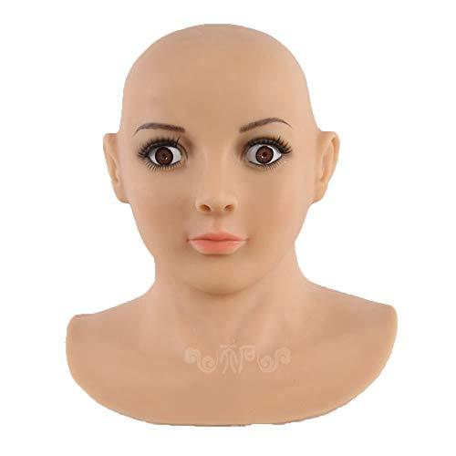 XSWE Transgendermaske, Realistische Silikon-Maske Weihnachten Halloween Masken Engel Face Masken Shemale Spale Transvestite Cosplay