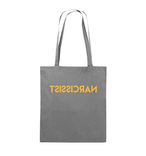 Comedy Bags - NARCISSIST - GESPIEGELT - Jutebeutel - lange Henkel - 38x42cm - Farbe: Schwarz / Silber Dunkelgrau / Gelb