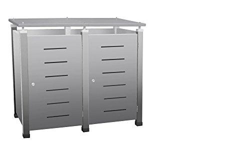 Mülltonnenbox Modell Pacco E Line1 für zwei 120 ltr. Tonnen in Edelstahloptik