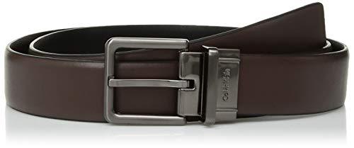 Calvin Klein Mens 32mm Reversible Feather Edge Panel Belt Dark Chocolate/Black 42 One Size