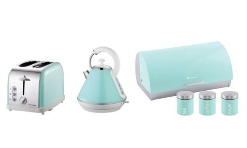 6PC Set of Electric Kettle, Toaster, Bread bin & 3 Canisters – Mint Green