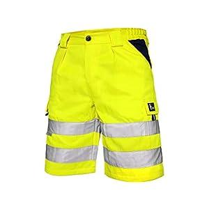 CXS Norwich Pantalones Cortos de Trabajo, Shorts de Alta Visibilidad, Color de señal, Shorts Pantalones de Alta Visibilidad, con Rayas Reflectantes, EN ISO 20471, 280 g/m2