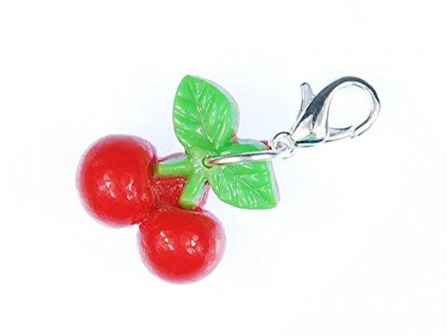 Kirsche Charm Zipper Pull Anhänger Miniblings doppel klein Kirschen Obst Früchte (Kirsche Armband)