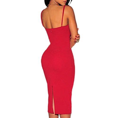 mywy - Abito tubino donna nero vestito bianco aderente vestitino rosso spalline Rosso