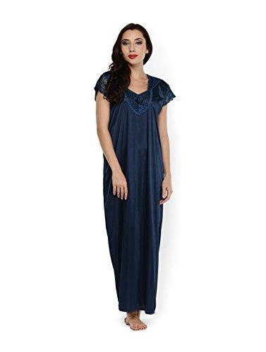 Klamotten Womens Satin Nightwear ,Navy ,Free Size