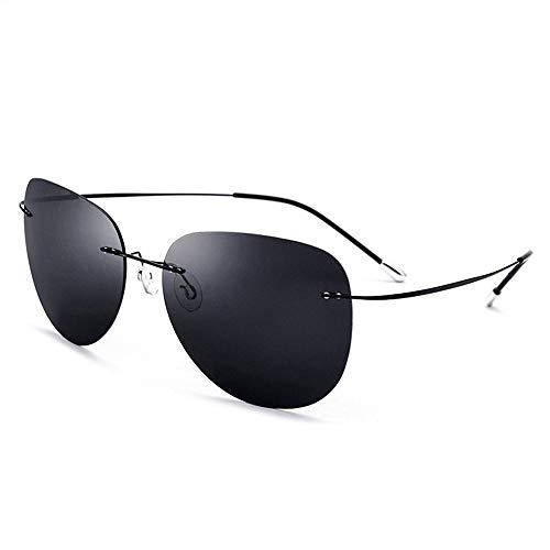 Schraubenlose polarisierte Sonnenbrille für Männer und Frauen ultraleichte Ramless Titanlegierung Brille (Farbe : Schwarz, Größe : Einheitsgröße)
