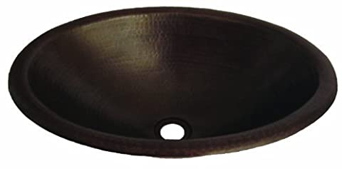 Novatto Cordoba Rolled Oval Drop-In Copper Bath Sink with Antigua Finish, 19-Inch Width by Novatto