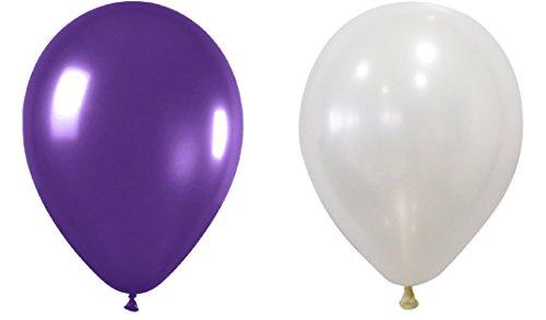 INERRA Globos – Pack DE 50 Unidades (25 x Blanco y 25 x Morado) Látex 10' para Helio o Aire – Cumpleaños y Boda
