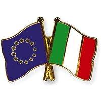 Yantec Freundschaftspin Europa - Italien Pin Anstecknadel Doppelflaggenpin