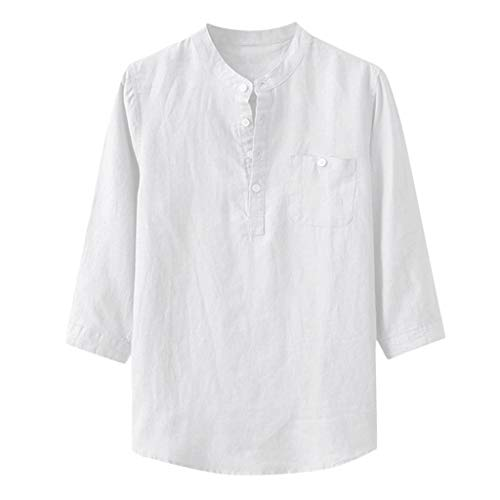 Zolimx Hemd Herren Leinenhemd Herren Freizeithemd Henley 3/4 Ärmellänge, Männer Baggy Bettwäsche aus Baumwolle Solide Dreiviertelärmel Taschen Stehkragen Shirts -