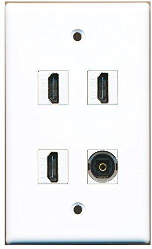 RiteAV-3x HDMI und 1x Toslink Digital Audio Port-Weiß Flush Mount Wall Jack