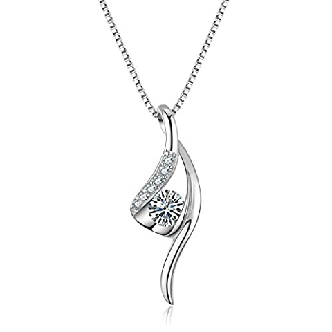 Eynoca Women's Silver Necklace 925 Sterling Silver White Cubic Zirconia Diamond Pendant