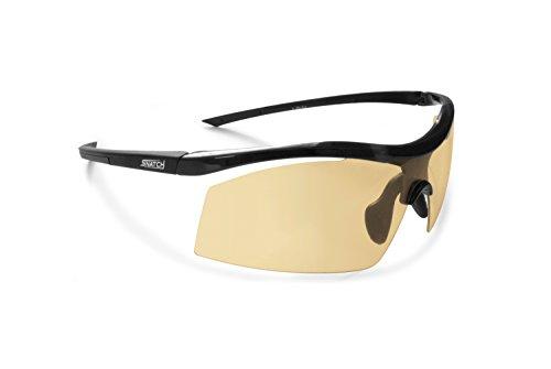 Radbrille Selbsttönend Polarisiert - Fahrradbrille Photochrome Sportbrille Sonnenbrille Ski Laufen Golf Running by Snatch Italy (Matt Schwarz / Shiny Schwarz, Photochromen Gelb bis Grau)