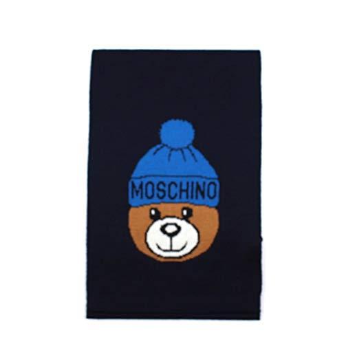 Moschino Bufanda de primera línea para niños de color azul con Teddy Bear. 30650 M2188. Biosaborse...