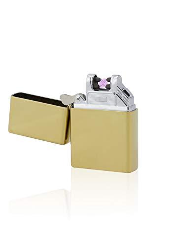TESLA Lighter T03 Lichtbogen-Feuerzeug, elektronisches USB Feuerzeug, Double-Arc Lighter, wiederaufladbar, Gold