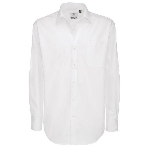 B & C Collection Herren Sharp Long Sleeve Shirt Weiß - Weiß