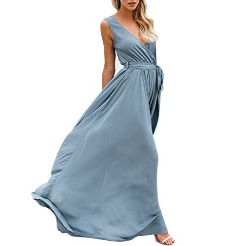 Damen V-Ausschnitt Split Kleid, LeeMon Sexy Womens Holiday Sleeveless Damen Maxi Langes Sommer-Strandkleid mit ()