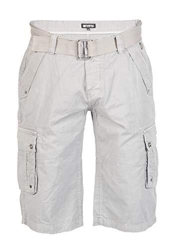 riverso Herren Cargo Shorts Anton mit Gürtel Bermuda Kurze Hose Aus 100% Baumwolle - Blau - Grau - Oliv, Größe:W 36, Farbe:Dawn Grey (23200) (30w Kurze)