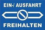 Ein- Ausfahrt Schild Schilder -157s- Doppelpfeil 29,5cm * 20cm * 2mm, mit 4 Eckenbohrungen (3mm) inkl. 4 Schrauben