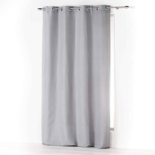 douceur d'intérieur rideau a oeillets 140x280 cm microfibre absolu gris