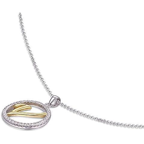 Cubic ad by tricolore–Collana Donna con ciondolo, 45cm–argento sterling 925, parzialmente placcato oro–lettera a–Z a scelta