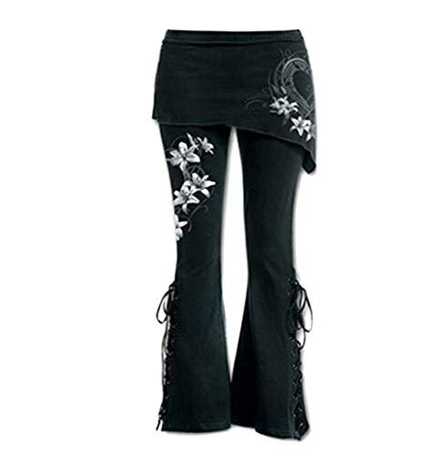 Tomatoa Damen Hosen Beinhosen Freizeithose Frauen schwarz Bestickt lässig Verband Flares Punk schnüren Bell Bottom Leggings Boho Hippie Hose S - 5XL - Leder-low Rise Flare Jeans