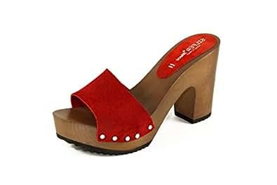 Silfer Shoes - Zoccolo in Vero Legno e Pelle di camoscio, Colore Rosso (35)
