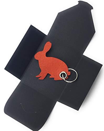 Braun Öse (filzschneider Schlüsselanhänger aus Filz - Hase - sitzend/Ostern - hell-braun/rost-braun - als Geschenk, Glücksbringer mit Öse und Schlüsselring - Made-in-Germany)