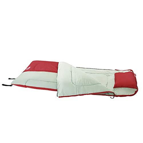 Sacco a Pelo per Adulti Stagioni All\'aperto Caldo Anti-Sporco Sacco a Pelo Cuscino Gonfiabile Campeggio Hotel 205cm (Color : Red)