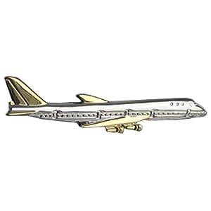 Unbekannt Flugzeug Krawattenklammer Krawattennadel kurz -5,8 cm lang Bicolor glänzend + Silberbox